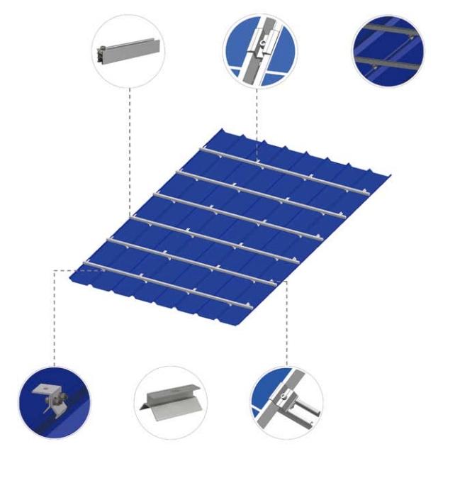产品介绍 光伏支架 屋顶光伏支架 彩钢瓦屋顶组件平铺  适用于太阳能